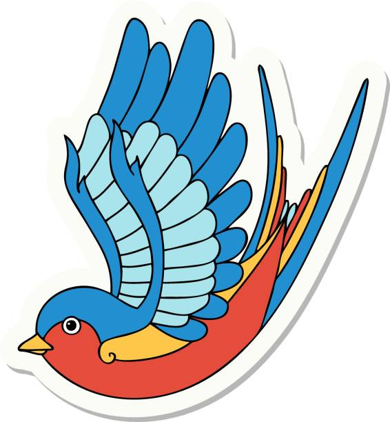 tattoo style sticker of a swallow sticker of tattoo in traditional style of a swallow nautical tattoos stock illustrations