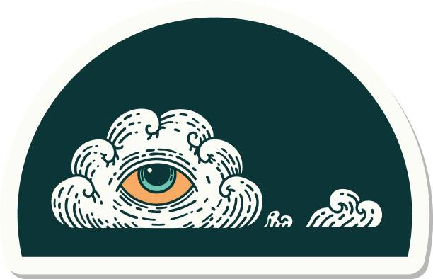 tattoo style sticker of an all seeing eye cloud vector art illustration