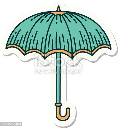 sticker of tattoo in traditional style of an umbrella