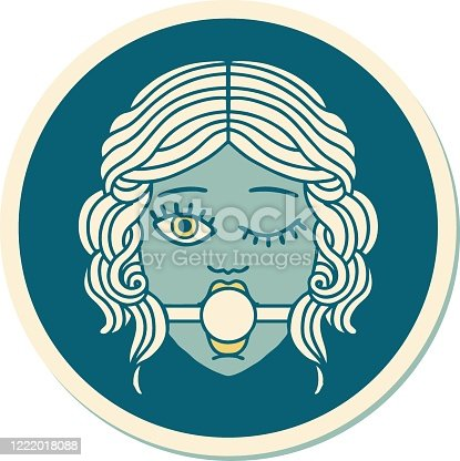 istock tattoo style sticker of winking female face with ball gag 1222018088