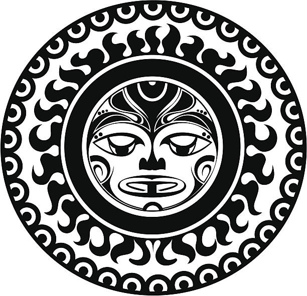 Tattoo styled mask vector art illustration