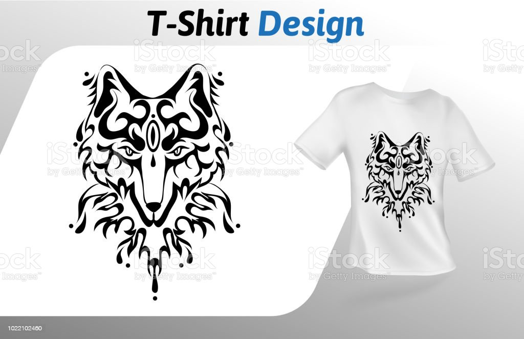tattoo stylized wolf face tshirt print mock up tshirt design