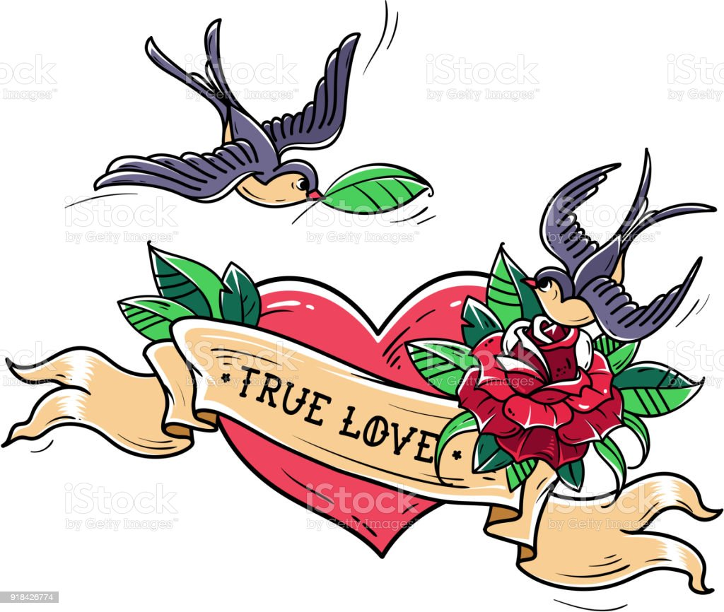 Tattoo Swallows Fly Over Red Heart And Rose True Love Concept Symbol