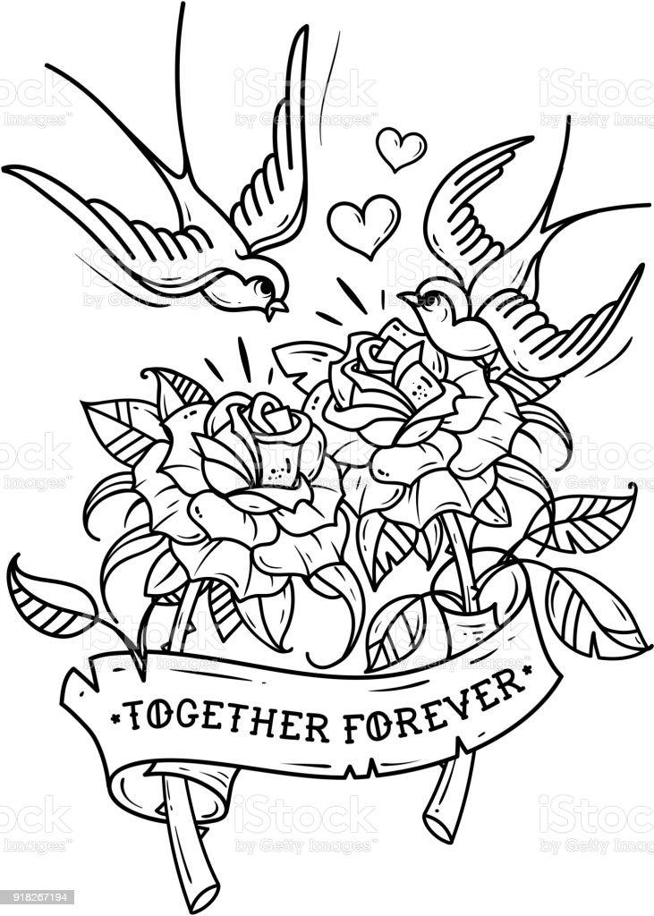 Ilustración De Tatuaje De Golondrinas Volar Sobre Dos Rosas Amor
