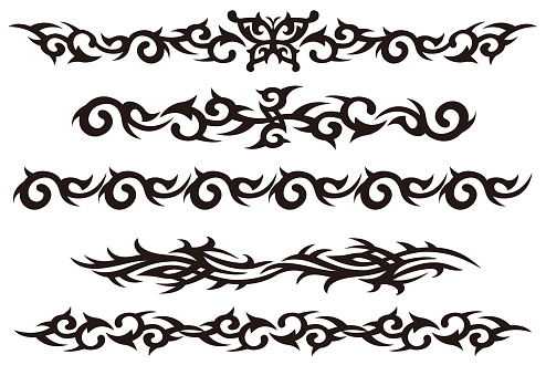 Tattoo tribal vector design art set.