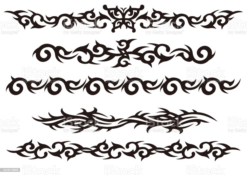 Tattoo tribal vector design art set. vector art illustration