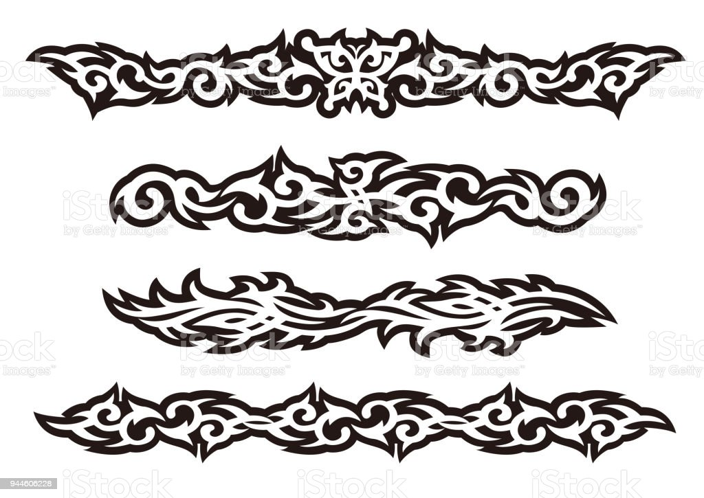 Tattoo tribal vector design art set. vector art illustration
