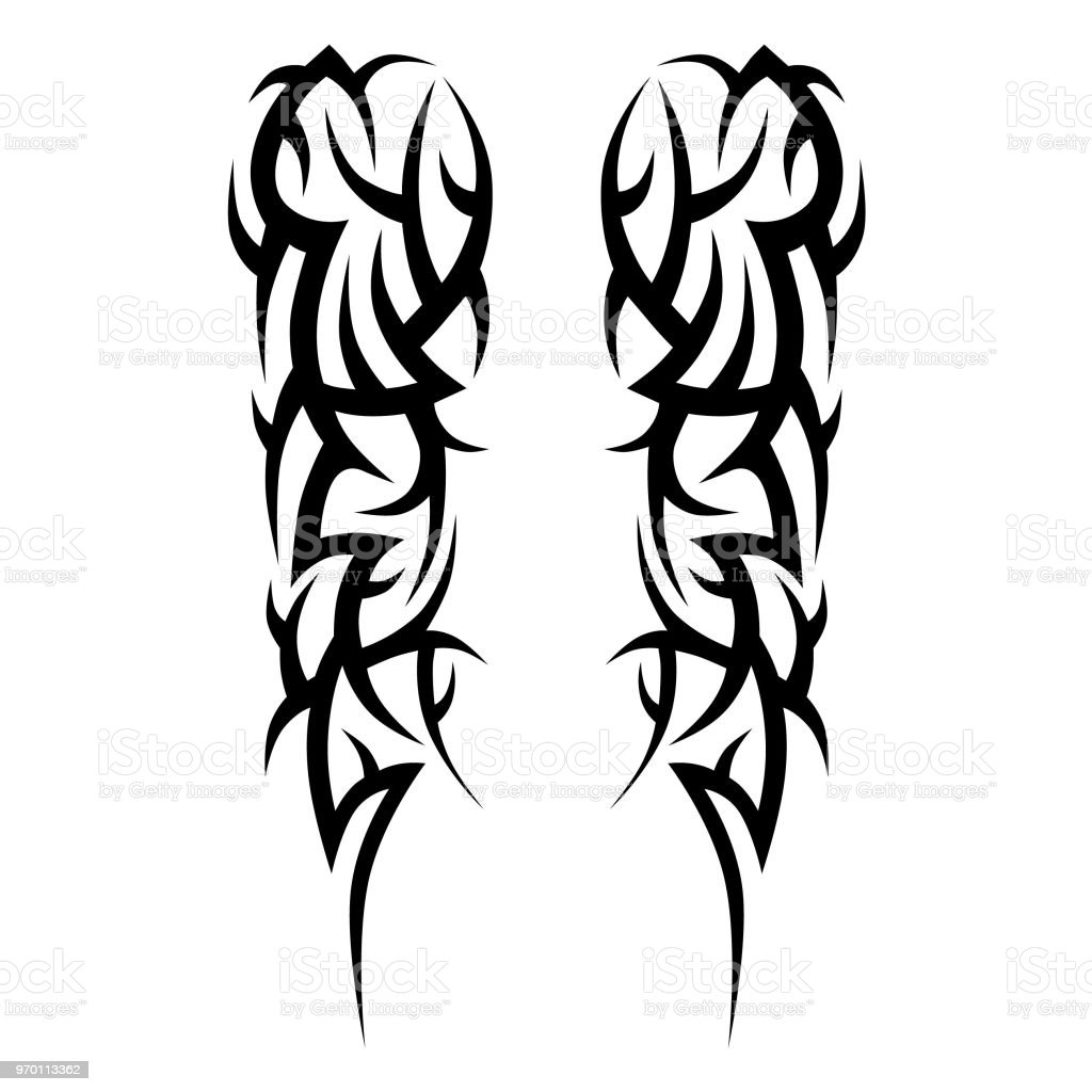 Tattoo tribal vector design sketch. Sleeve art abstract pattern arm. Simple icon on white background. Designer isolated abstract element for arm, leg, shoulder men and women. vector art illustration