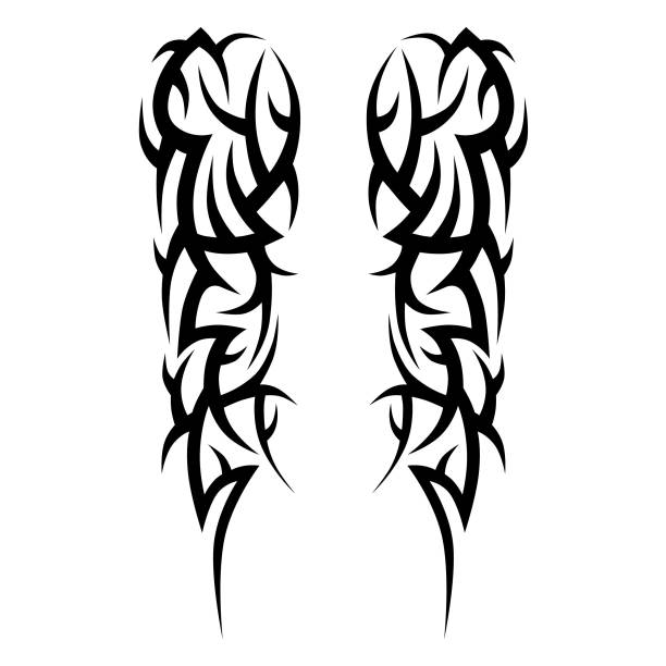 tattoo tribal vector design sketch. sleeve art abstract pattern arm. simple icon on white background. designer isolated abstract element for arm, leg, shoulder men and women. - tribal tattoos stock illustrations, clip art, cartoons, & icons