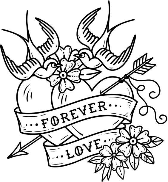 Tattoo two hearts pierced by arrow. Hearts with flowers , ribbon and swallows. Forever love. Valentines Day. vector art illustration