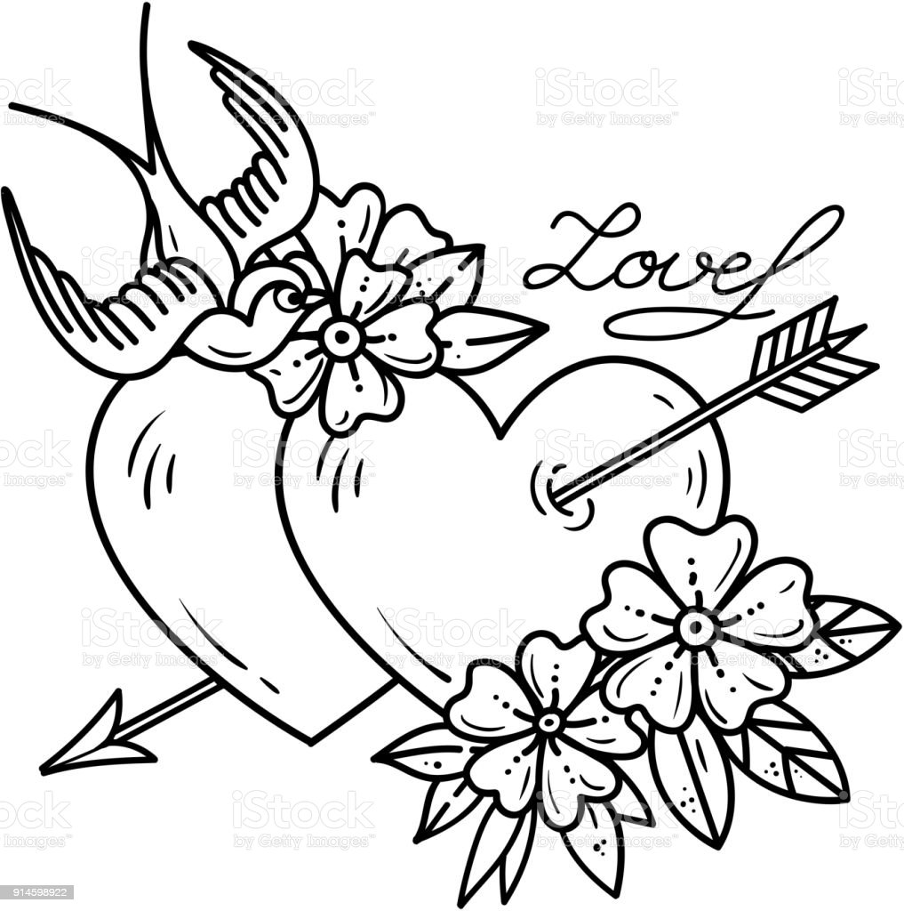 Tattoo Two Hearts Pierced By Arrow With Flowers And Bird Black And