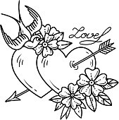Tattoo heart with arrow. Two hearts pierced by arrow with flowers and bird. Love. Old school tattoo art. Black and white Illustration, sticker for Valentines Day.