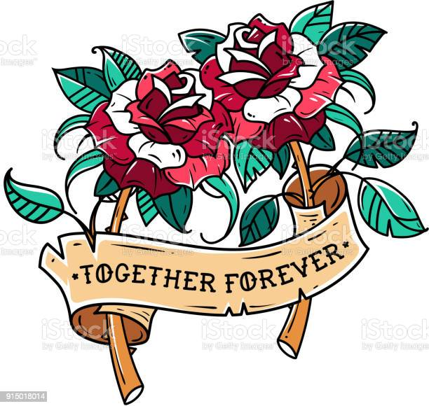 Tattoo two red roses with ribbon symbol of mutual love roses is in vector id915018014?b=1&k=6&m=915018014&s=612x612&h=ymid bcfzbehovyuij2jsgzdpjmut0ojztthwezv l8=