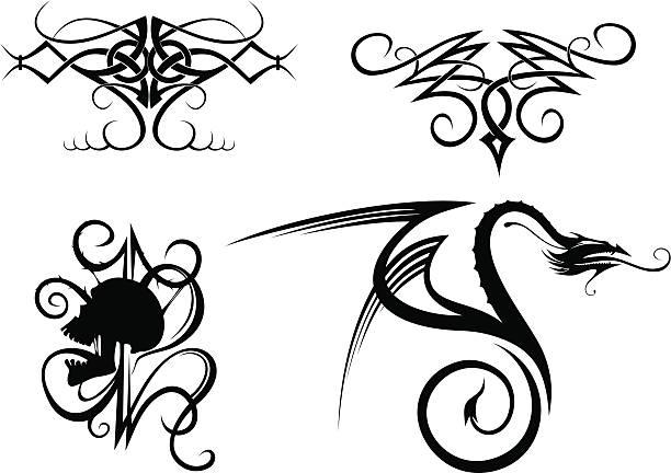 ilustraciones, imágenes clip art, dibujos animados e iconos de stock de tatuaje - tatuajes tribales