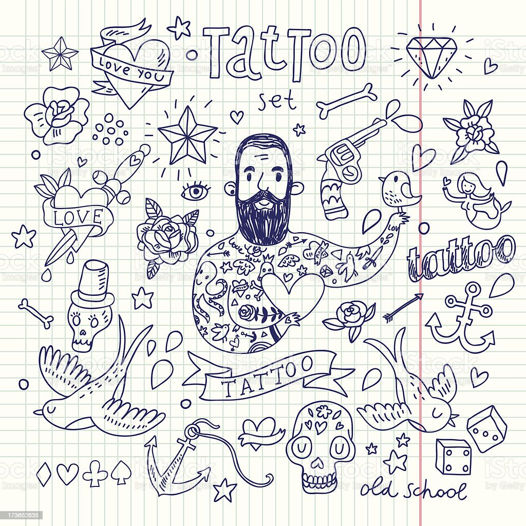 Tattoo vector set - ilustración de arte vectorial