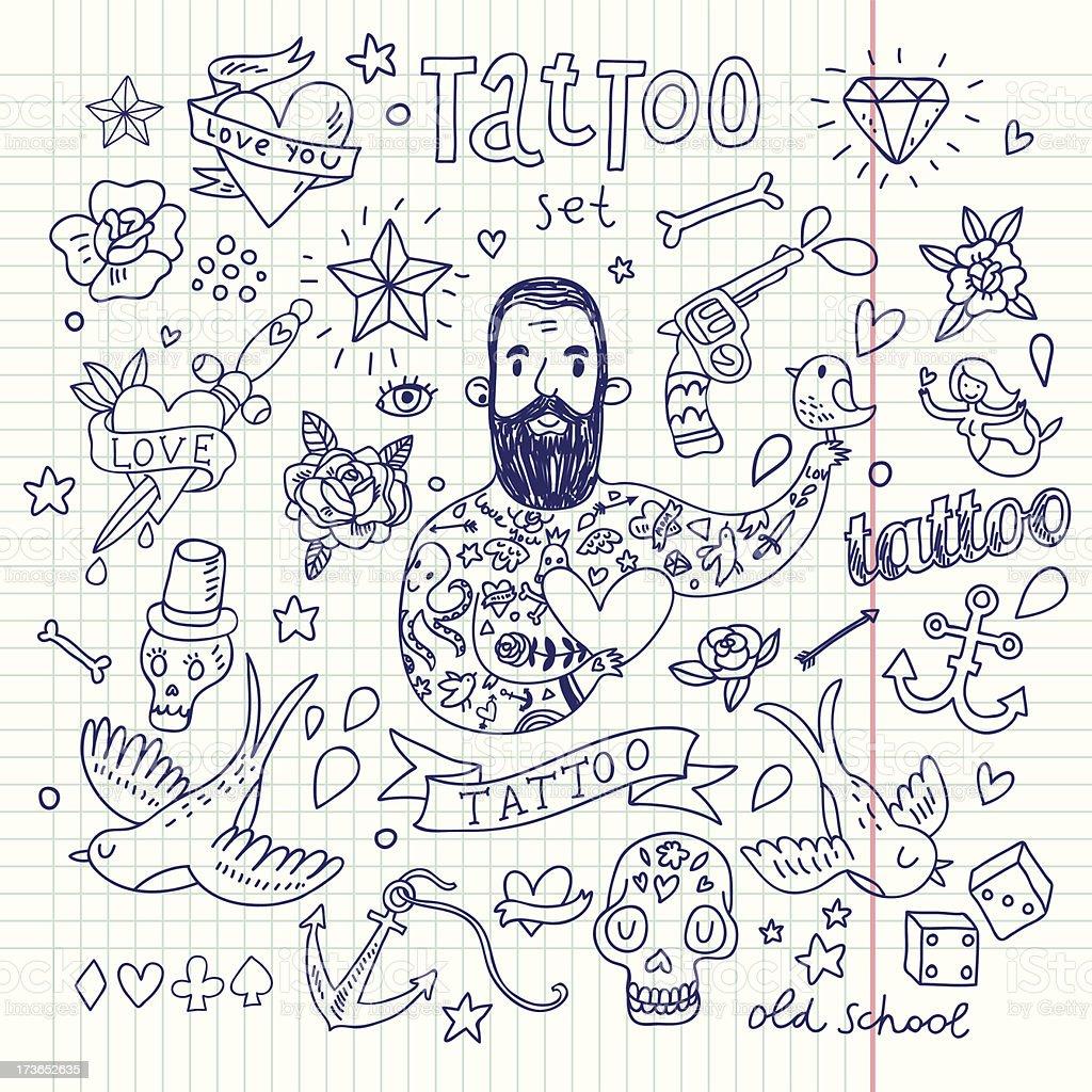 Tattoo Vektor-set – Vektorgrafik