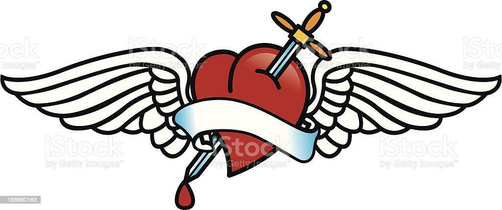 tattoo with heart vector art illustration