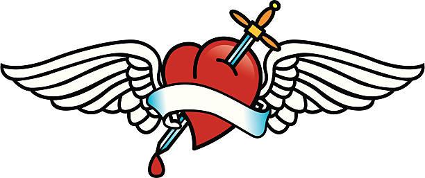 ilustraciones, imágenes clip art, dibujos animados e iconos de stock de tatuaje con corazón - tatuajes de alas