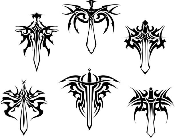 タトゥーの短剣や刀付き - 短剣のタトゥー点のイラスト素材/クリップアート素材/マンガ素材/アイコン素材