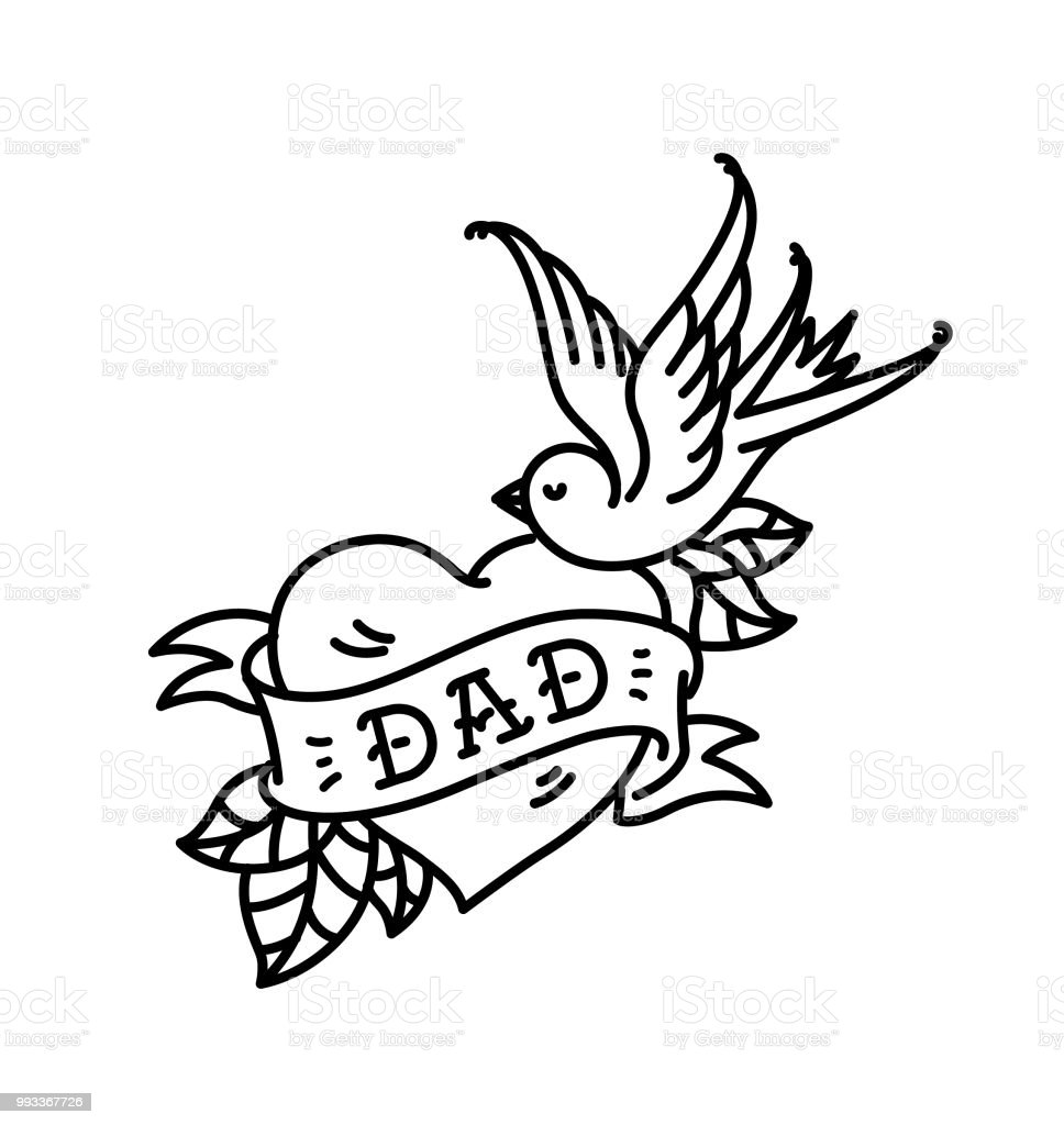 A Tattoo With The Inscription Of Dad Heart Tattoo With A Birdie