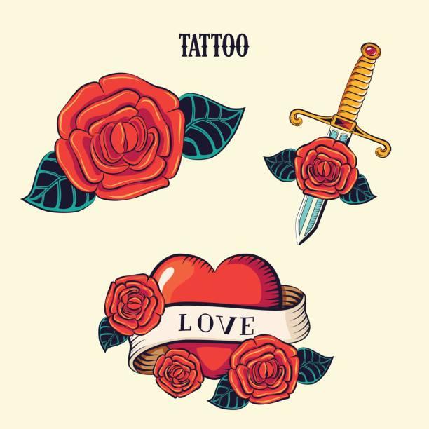 ilustraciones, imágenes clip art, dibujos animados e iconos de stock de tattoo_0 - tatuajes de corazones