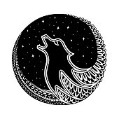 Wolf head and howl tribal tattoo. It may be used for design of a t-shirt, bag, postcard, a poster and so on.