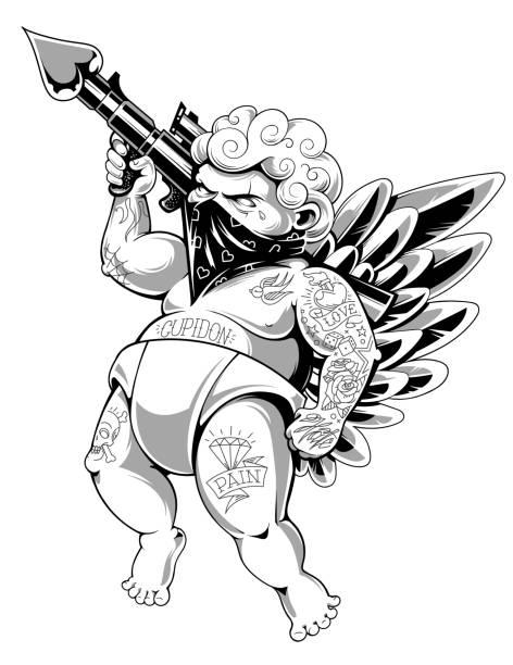 ilustraciones, imágenes clip art, dibujos animados e iconos de stock de cupidon tatuado vector art - tatuajes de ángeles