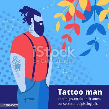 Tattooed Handsome Bearded Hipster Man Character