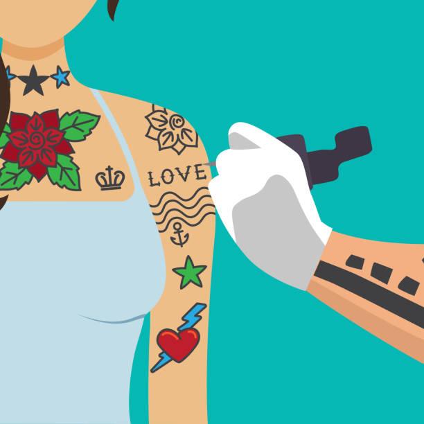 arm tattoos stock illustrations