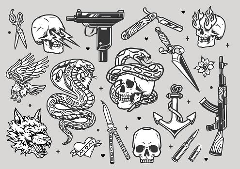 Tattoos vintage monochrome collection