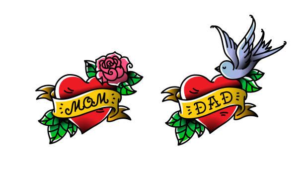 illustrations, cliparts, dessins animés et icônes de tatouages avec l'inscription de maman et papa. deux coeurs avec une fleur et un oiseau. tatouage plat de vecteur. félicitation aux parents d'un anniversaire. un tatouage pour aimer les parents. tatouages dans le style ancien. - tatouages cœurs