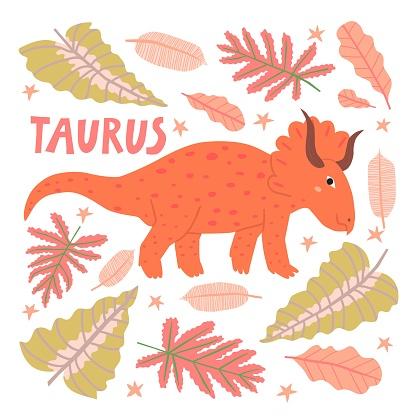 Taurus dinosaur childish character vector illustration.
