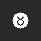 taurus icon. Filled taurus icon for website design and mobile, app development. taurus icon from filled esoteric collection isolated on black background.