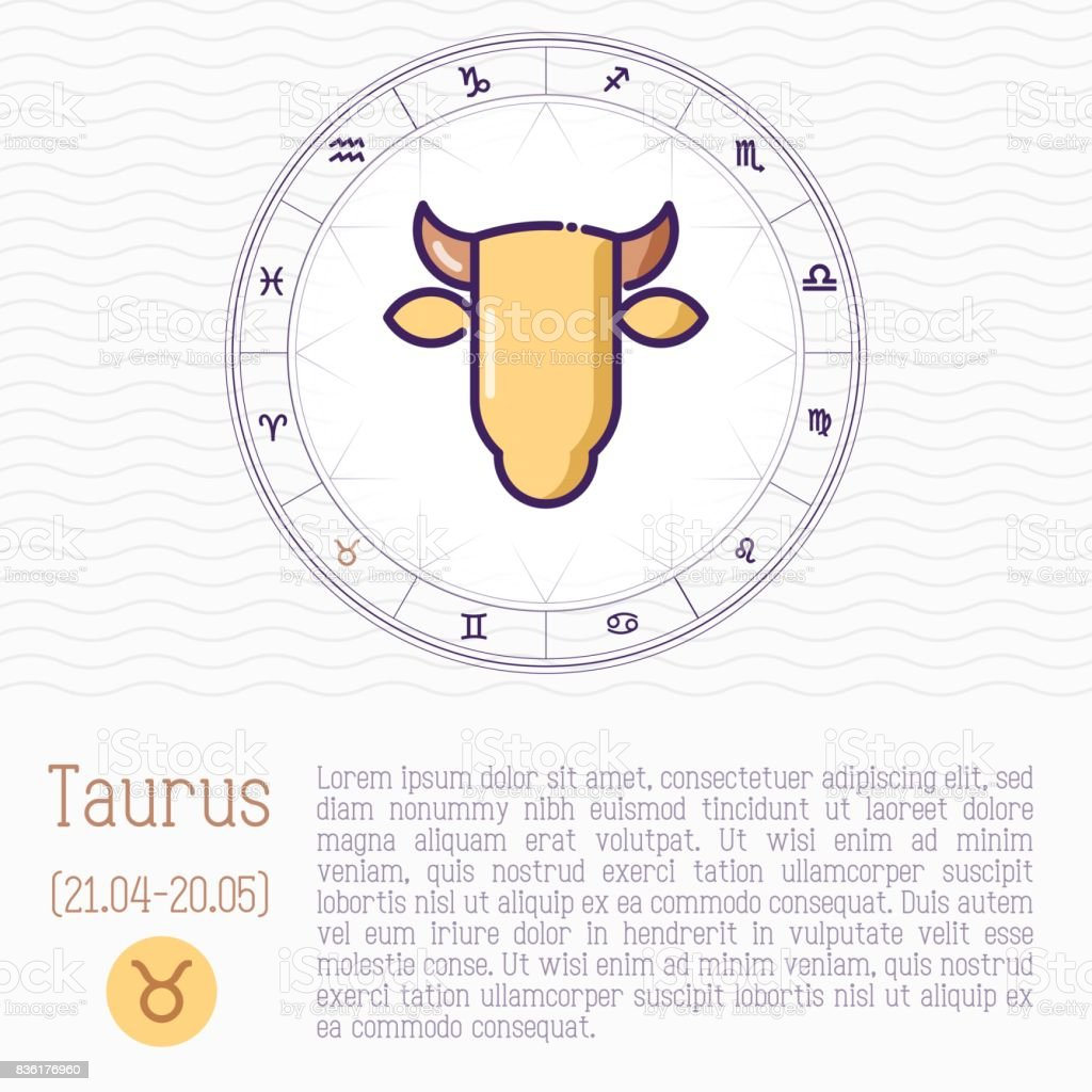 Taurus In Zodiac Wheel Horoscope Chart With Place For Text