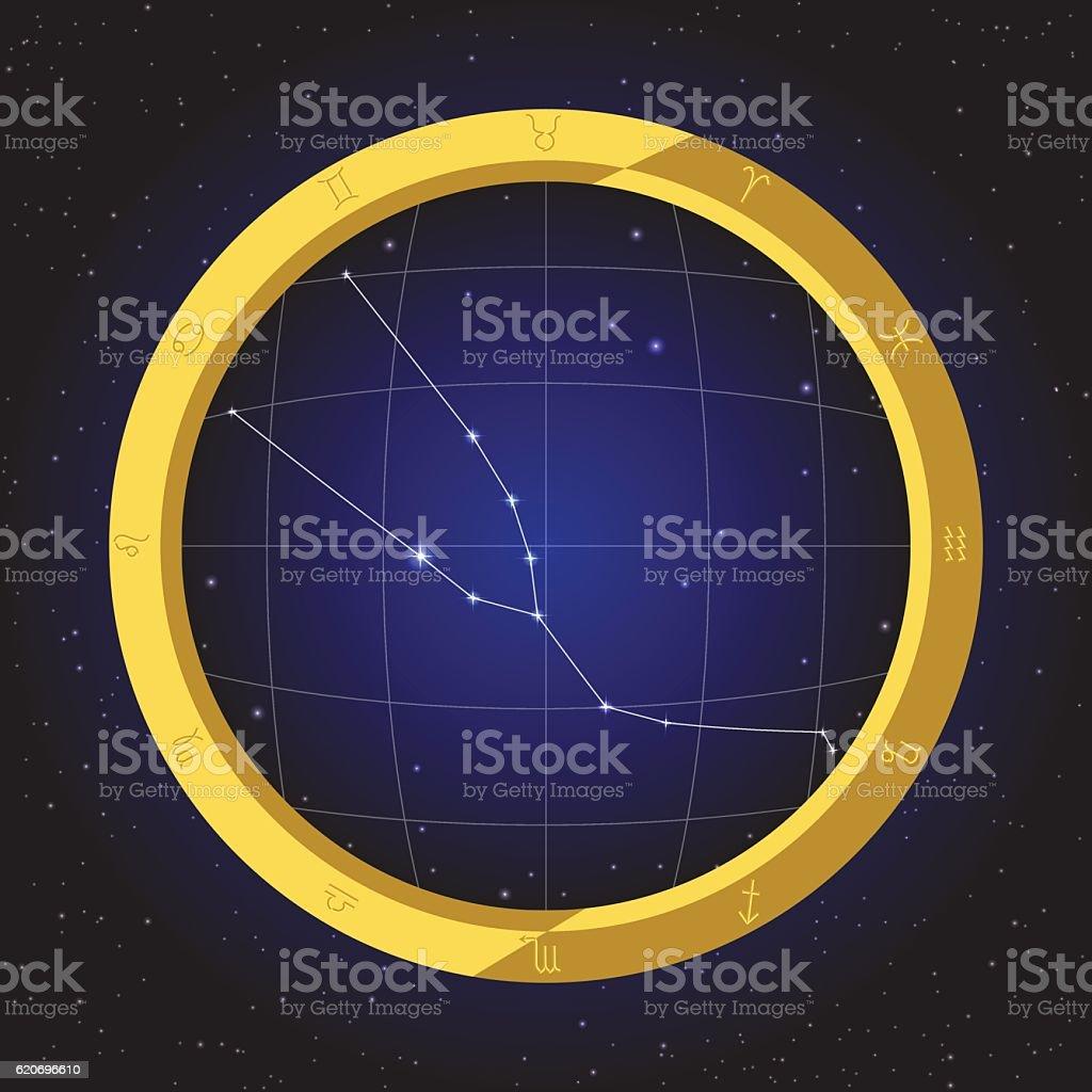 taurus star zodiac in fish eye telescope with cosmos background vector art illustration