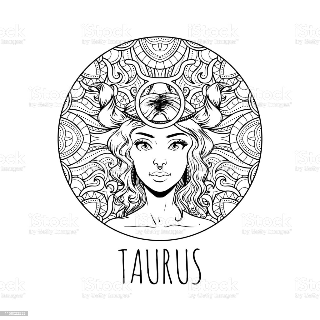 Taurus Zodiac Sign Artwork Adult Coloring Book Page Beautiful Horoscope  Symbol Girl Vector Illustration Stock Illustration - Download Image Now -  IStock