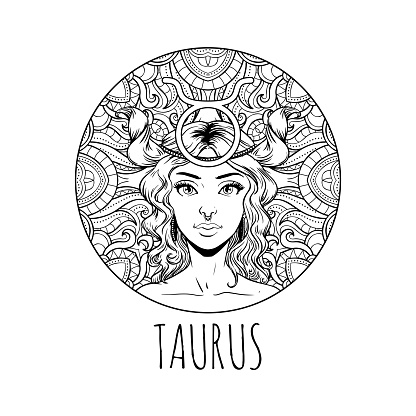 Taurus Zodiac Sign Artwork Adult Coloring Book Page ...