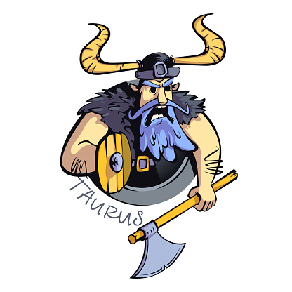 Taurus zodiac sign man flat cartoon vector illustration. Angry warrior, horoscope sign personality. Ready to use 2d character for commercial, printing design. Isolated concept icon