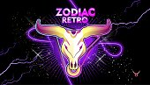 Taurus zodiac Astrological horoscope, in retro style on a black background with neon luminous elements, sacred gothic symbols of the constellations, vector horizontal illustration