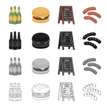 Taverne Essen Erholung Und Andere Websymbol Im Cartoonstil Stand Baum Würstchen Symbole Im Set Sammlung Stock Vektor Art und mehr Bilder von Baum