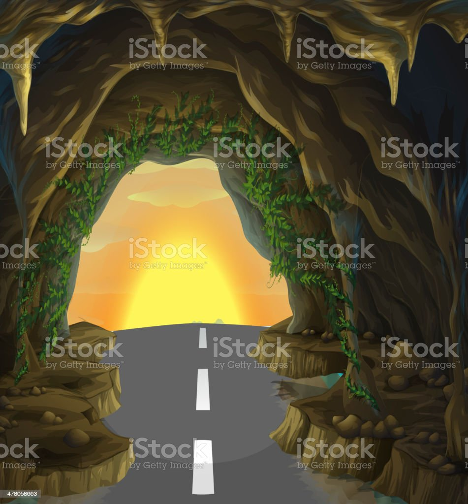 tavern with a road royalty-free stock vector art