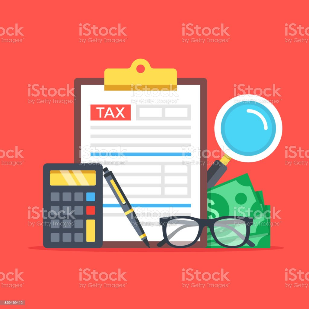 Tax accounting, expenses, budget calculation. Clipboard, tax form, calculator, pen, money, glasses, magnifier. Flat design graphic elements set. Premium quality. Modern concepts. Vector illustration vector art illustration