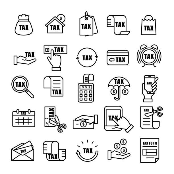 ilustraciones, imágenes clip art, dibujos animados e iconos de stock de impuestos y moneda del esquema conjunto de iconos - taxes