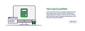 Tax Calculation Concept with Line Computer Illustration. Minimal Design for Web Banner, Poster, Flyer and Brochure Template with Calculator Icon.