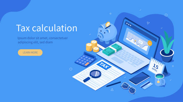 tax calculation Office Desk with  Documents for Tax Calculation. Finance Report with Graph Charts. Calendar show Tax Payment Date. Accounting and Financial Management Concept. Flat Isometric Vector Illustration. taxes stock illustrations