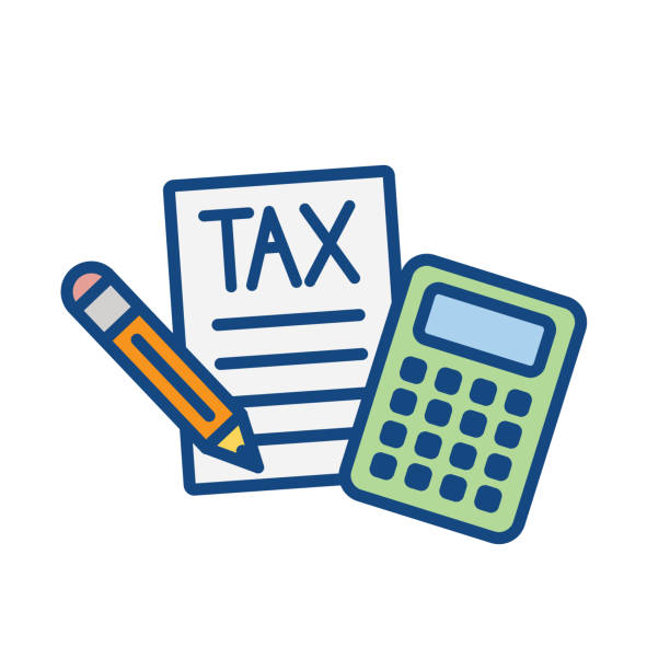ilustraciones, imágenes clip art, dibujos animados e iconos de stock de concepto fiscal con porcentaje pagado, icono e idea de ingresos. ilustración de contorno vectorial plano. - taxes