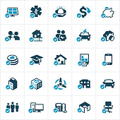 Icons representing different tax credits and tax deductions. The icons include both personal and business credits and deductions for tax purposes. The check marks are on a separate layer and can be turned off if desired.