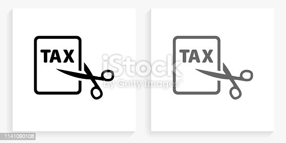Tax Cut Black and White Square Icon. This 100% royalty free vector illustration is featuring the square button with a drop shadow and the main icon is depicted in black and in grey for a roll-over effect.