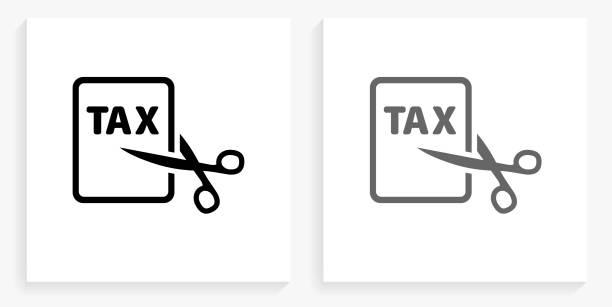 Tax Cut Black and White Square Icon vector art illustration