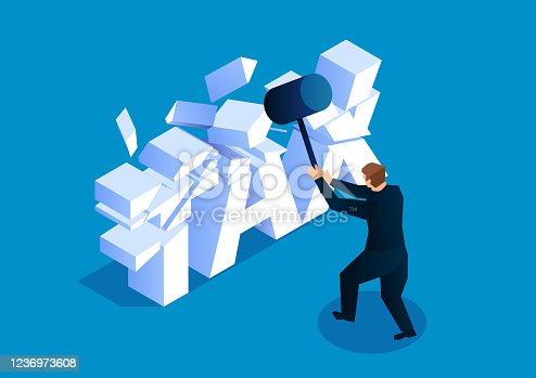 istock Tax cut, businessman crushed the letters TAX with a hammer 1236973608